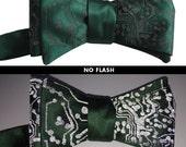 Circuit Board Bow Tie, RetroReflective Gray Print. Men's bow tie. Geek chic bowtie. Freestyle & adjustable. Choose emerald or black bow tie.