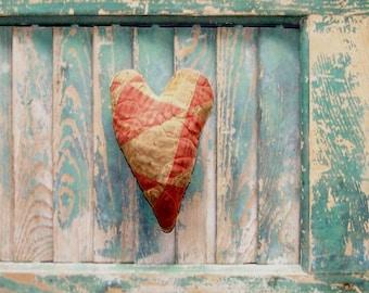 Antique Quilt Heart, Primitive Heart, Christmas Ornament, Valentine Heart, Farmhouse Decor, Vintage Quilt Heart - READY TO SHIP