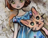 Jointed Articulated Paper Dolls - Folk Art - Paper Goods - Hand-painted - Anime-Manga style - OOAK - Cat Mask