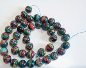 Rainbow Stone Beads, Destash One Strand with 41 Beads, 8mm Size, Swirls of Color, Man Made Colorful Beads, Multi Color Bead Strand