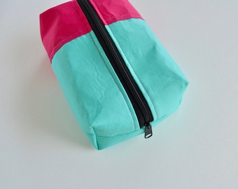 Boxy Pouch - Big Make up Bag - Boxy Zipper Pouch - Blue and Pink Pouch - Color Block Pouch - Toiletry Bag - Gifts under 15 - Gifts for mom