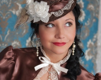 Scrumptious Steampunk Lolita Tilt Hat - Natural Straw - Ready to Ship