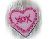 Pink Heart DOG BOW, Valentines Day Dog Bow, Embroidered Heart, Love, Valentines Day Gift