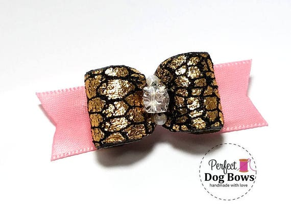 Pink Dog Bow,  Black Formal Dog Bows, Show Dog Bow, Bows for Dog Groomers, Wedding Bow