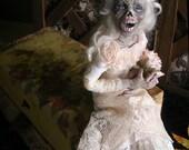 "Corpse Bride Art Doll, Antique Vanity Box ""Coffin"", Clay Art Doll, Sculpted Doll, OOAK Doll, Handmade Doll, Original Doll, Mummy Doll"