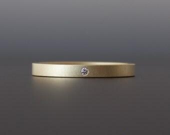 Gold Ring with Flush Set White Diamond - 18 Karat Yellow Gold - Matte Finish - Modern Artisan Wedding Band - Custom Made