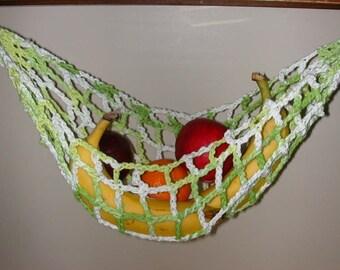 Banana Hammock, Fruit Hanger, Holder, Net, Variegated Green & White