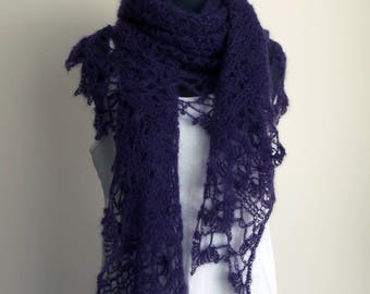 SALE - Crochet Lace Shawl Scarf Wrap, Stylish Comfort Prayer Meditation, Women's Fashion, Purple, Mohair Silk, FREE SHIPPING Ready to Ship