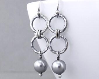 Gray Pearl Earrings Gray Earrings Pearl Dangle Earrings Modern Pearl Jewelry Gift for Women - Akira