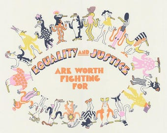 equality and justice fundraising silkscreen