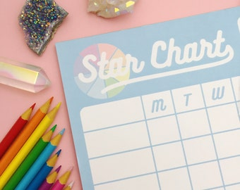 Pastel Colour Wheel Star Chart - Rainbow Reward Chart for Adults - Adult Achievements - A4 Notepad