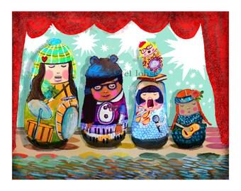 Rock On Nesting Dolls ... for girls, kids, rockers at heart ... giclée print ... you choose the paper size ... music • children • matryoshka
