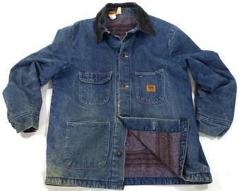 Wrangler Blanket Lined Denim Jacket / Vintage 1970s Big Ben Chore Coat with Striped Lining / Worn In Barn Coat Jean Jacket USA Made M L