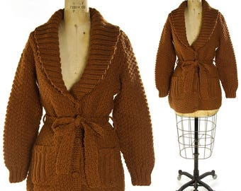 70s Handmade Cardigan / Vintage 1970s Chunky Cocoa Brown Button Up Sweater with Tie Belt / Hand Knit Blanket Coat with Collar / Medium Large
