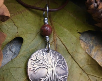 Silver Tree of Life Necklace/Silver Tree Pendant/ Irish Celtic Jewelry/Cork Red Marble/Celtic Sacred Trees/Druid Pagan Tree Charm/Tree Roots
