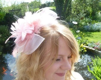 Soft pink fascinator with feathers. Blush pink feathers. Wedding fascinator. Ascot races