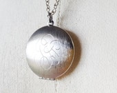 Vintage Scroll Initials Locket Necklace, Brushed Finish Silver Tone Locket, Long Chain Locket Necklace