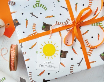 Melted Snowman Wrapping Paper Set. Festive Gift Wrap. Quirky Eco Friendly Paper. Children's Christmas Wrap.