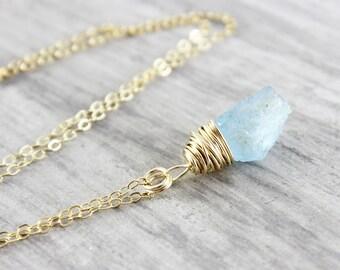 Aquamarine Gemstone Necklace, Gold Aquamarine Necklace, Raw Gemstone Necklace, Light Blue Stone Necklace, Raw Aquamarine Pendant Necklace