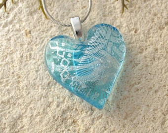 Heart Necklace, Aqua Heart Pendant,  Turquoise Pendant, Fused Glass Jewelry, Necklace Included, Dichroic Jewelry, Silver Chain,  110416p100
