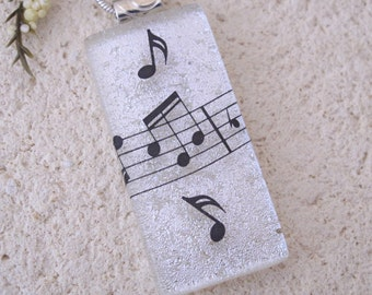 Music Necklace, White Black Necklace, Dichroic Jewelry, Fused Glass Jewelry, Fused Glass Pendant, Music Jewelry, Silver Necklace, 111216p4