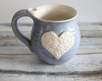 Periwinkle Blue and White Heart Mug - Ready to Ship  - Holds 14 oz
