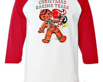 "Gingerbread Cookie TShirt - Adult Christmas Shirt - ""Christmas Baking Team"" - Baseball Shirt RED Size  XS S M L Xl 2XL 3XL Woman"