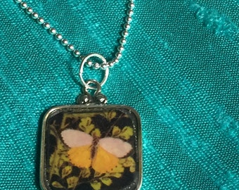 Sterling silver Charm necklace, Yellow Butterfly, resin, handmade in the US