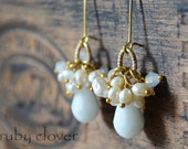SALE, Pearl Cluster Earrings, White Earrings, Bridesmaid Jewelry,Faux Pearls, Wedding Earrings, White and Gold Jewelry, Long White Earrings