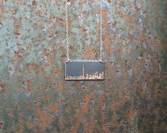 Toronto Ontario Canada skyline necklace   Toronto skyline pendant   etched copper pendant   handmade gift   jewelry for her