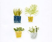 House Plant stickers - set of 4