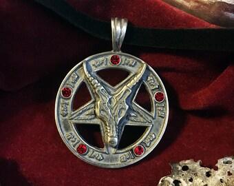 Sigil of Baphomet Pentagram Necklace on Black Velvet Cord  / Occult Necklace / Baphomet Pendant