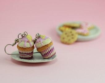 Lemon-Lavender Cupcake Earrings