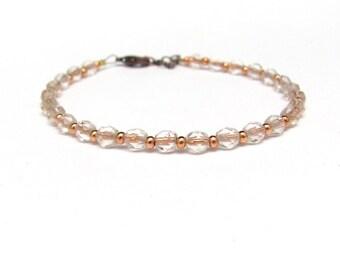 Copper Beaded Bracelet, Czech Glass Bracelet, Copper Bracelet, Yoga Zen Jewelry, Stack Layer, Stocking Stuffer, Friendship Bracelet, Gift
