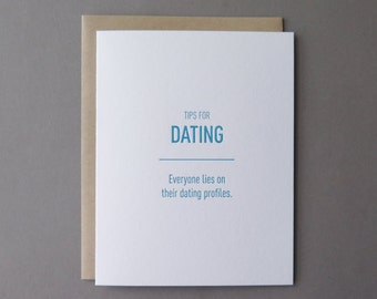 Tips for Dating: Dating Profiles, letterpress card