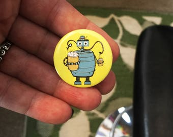 Beer Bot Pin Back Button