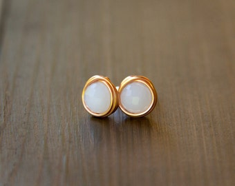 Glowing White Faceted Chinese Crystal Beads Wire Wrapped into Stud Earrings with Copper Wire