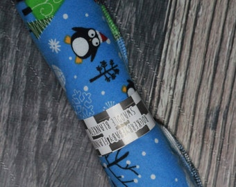 RockerByeBasics Large Newborn baby Swaddle Blanket 36x42 Blue Holiday Winter Penguin