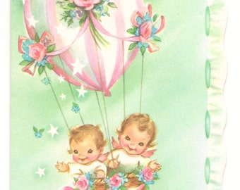 Vintage Birthday Card-1950s-For a Baby-Hot Air Balloon