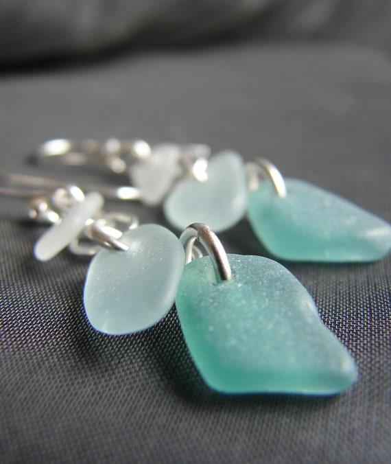Crest sea glass earrings in softest aqua, white and deep green