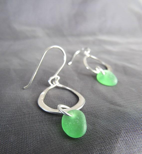 Waterline sea glass earrings in green