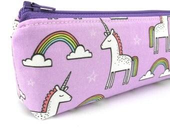 Purple Rainbow Tail Unicorn Pencil Case - Pencil Pouch - Zip Pouch - Small Bag - Zipper Pouch - Planner Pencil Case Organiser