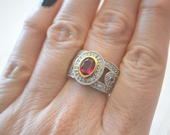 Ruby Ring, Crystal Ring, CZ Gold Plated Sterling Silver Ring, Gemstone Ring, Vintage Ring, RP Ring, Size 7 Ring, Birthstone Ring