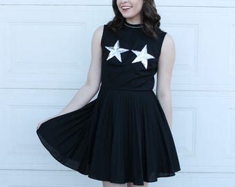Diy STAR Dress, Sequin Star Boob Dress, Handmade Star Dress, Silver Sequin Dress, Vintage black silver dress, Sequin Silver Star Dress