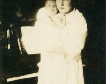 vintage photo 1920 New Mother Baby Piano Ethereal Window Light
