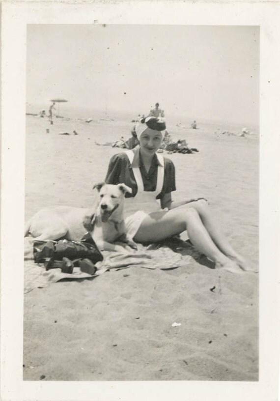 vintage photo 1940s WOman White Romper at Beach w Her White Dog