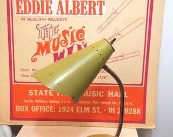 Retro mid century adjustable Gooseneck desk lamp Lime Green Olive Avacado Works