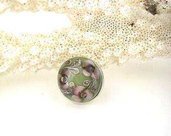 Green purple garden flower art glass snap charm chunk popper interchangeable handmade