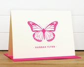 Personalized Stationery Set / Personalized Stationary Set - MONARCH Custom Personalized Note Card Set - Butterfly Children Thank You
