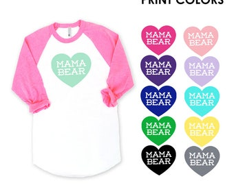Mama Bear with Heart Raglan Sleeve Baseball TShirt - Family Photos, Baby Shower, Expecting, Announcement, Gift for Mom,